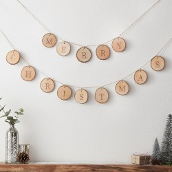 Guirlande Merry Christmas - Rondin de bois