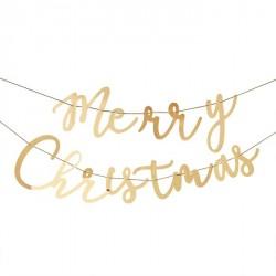Guirlande géante en acrylique Merry Christmas - Or