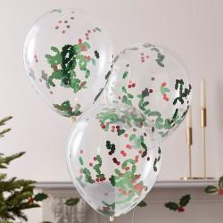 5 ballon confettis - Houx