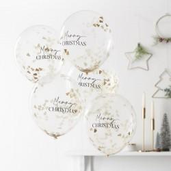 5 ballons confettis - Sapin or