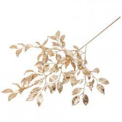 Branche de feuilles paillettes champagne