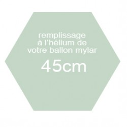 Hélium pour ballon mylar de 45cm