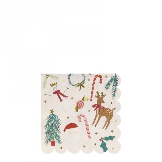 16 petites serviettes - Noël festif