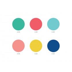 72 Stickers muraux - Pois 6 couleurs