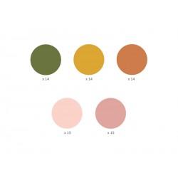 Stickers Dots 5 couleurs, 3.5cm (1 pkt / 72 pc.)