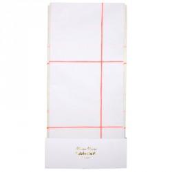 Nappe en papier lignée fluo