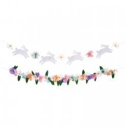 2 guirlandes printemps - Fleurs et lapin