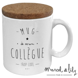 "Mug avec couvercle en liège - ""Mug de mon collègue trop cool"""
