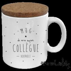 "Mug avec couvercle en liège - ""Mug de ma super collègue adorable"""
