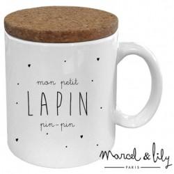 """Mug avec couvercle en liège - """"Lapin pin-pin"""""""
