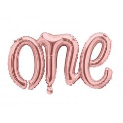 """Ballon aluminium script """"One"""" - Or rose"""