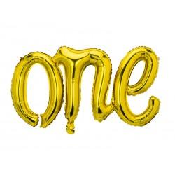 "Ballon aluminium script ""One"" - Or"