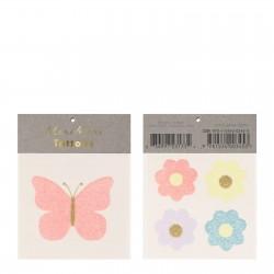 2 tattoos - Papillon et fleurs gliter