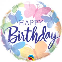Ballon aluminium Happy Birthday - Papillon