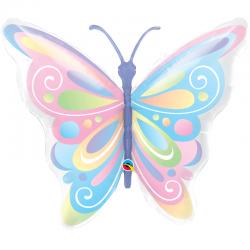 Ballon aluminium - Papillon pastel
