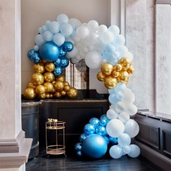 Kit arche à ballons de luxe - Dégradé bleu et chrome (200 ballons)