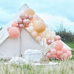 Kit arche à ballons de luxe - Dégradé pêche, crème, rose et chrome (200 ballons)