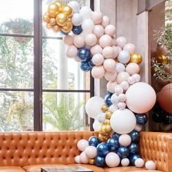 Kit arche à ballons de luxe - Dégradé navy, crème, or et chrome (200 ballons)