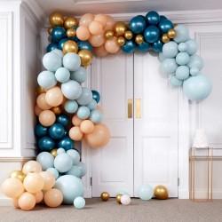 Kit arche à ballons de luxe - Dégradé  pêche, bleu canard et or et chrome (200 ballons)