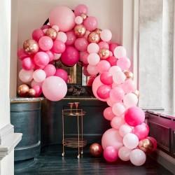 Kit arche à ballons de luxe - Dégradé de rose et chrome (200 ballons)