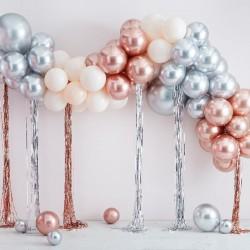 Kit arche à ballons et rideaux mylar - Crème et chrome argent et cuivre (95 ballons)