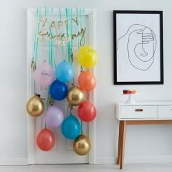 Kit guirlande et ballons à suspendre Happy Birthday - Or et multicolore