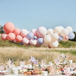 Kit arche à ballons - Pastel crème, lavande, rose et corail