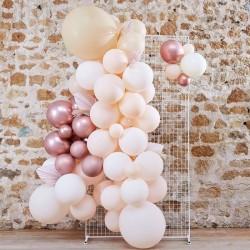 Kit arche à ballons et pampas - Pastel crème, rose, pêche et chrome