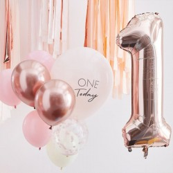 Kit 1 an One today - 10 ballons rose et or rose et chiffre 1