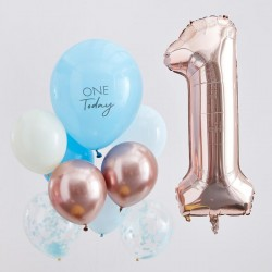 Kit 1 an One today - 10 ballons bleu et or rose et chiffre 1