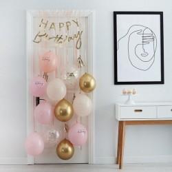 Kit guirlande et ballons à suspendre Happy Birthday - Rose et or