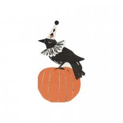 16 serviettes Halloween vintage - Corbeau