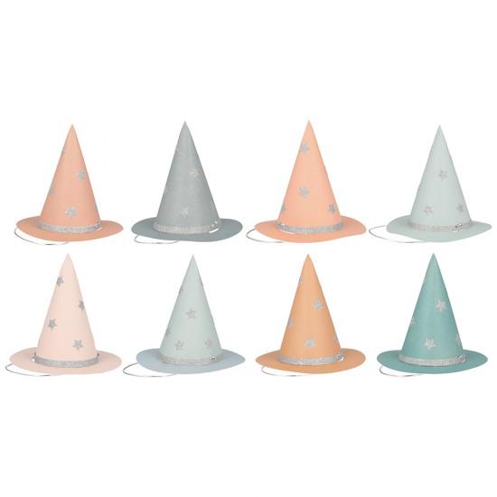 8 mini chapeaux de sorcière - Pastel