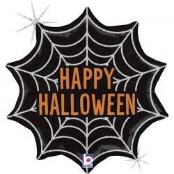 Ballon aluminium - Happy Halloween toile d'araignée