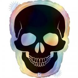 Ballon aluminium - Crâne opal holographique