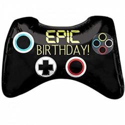 Ballon aluminium - Epic birthday Manette de jeux