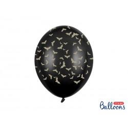 Ballon latex noir - Chauve souris or