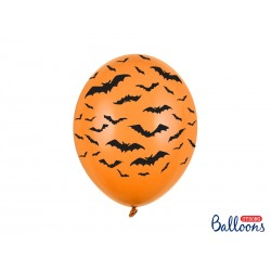 Ballon latex orange - Chauve souris noir