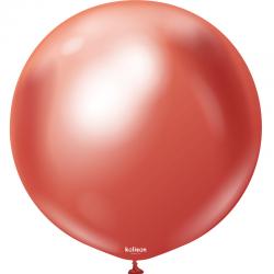 Ballon latex chrome - Rouge 45 cm