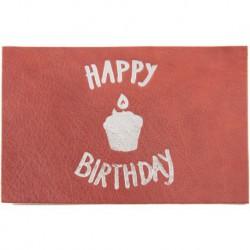 "Carte cuir anniversaire ""Happy Birthday"""