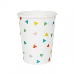 8 gobelets en carton - triangle multicolore