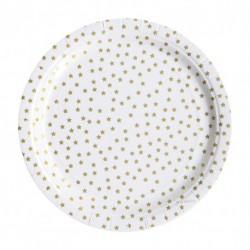 8 assiettes en carton - étoile dorée
