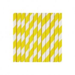 25 pailles en papier à rayures jaunes