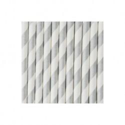 25 pailles en papier à rayures argentées