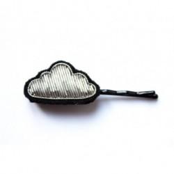 """Bijoux brodé sur barrette - """"Petit nuage argenté"""" Macon & Lesquoy"""