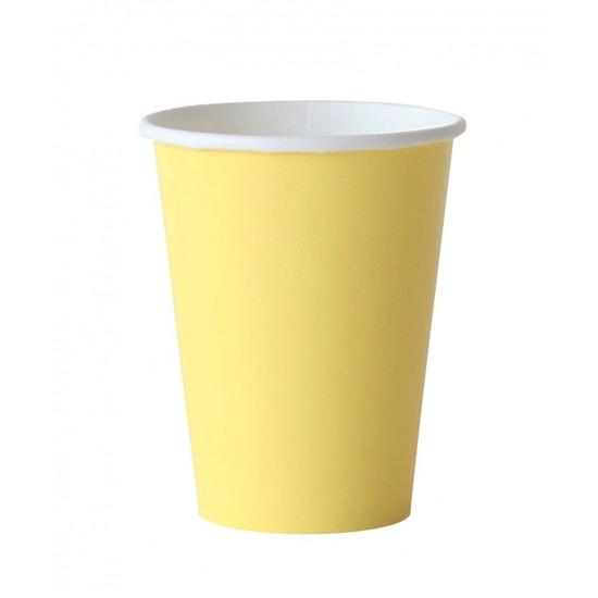 8 gobelets en carton - jaune