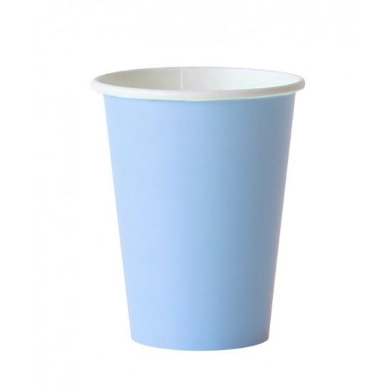 8 gobelets en carton - bleu ciel