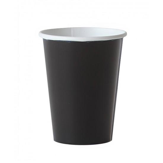 8 gobelets en carton - noir