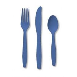 24 couverts en plastique - bleu foncé