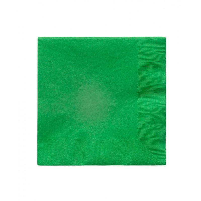 20 serviettes en papier vert 33x33cm happy family - Serviette en papier vert fonce ...